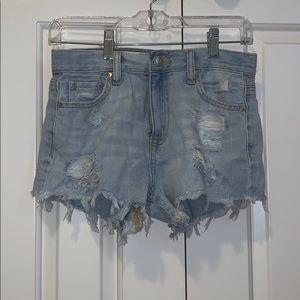 Denim high rise shorty shorts